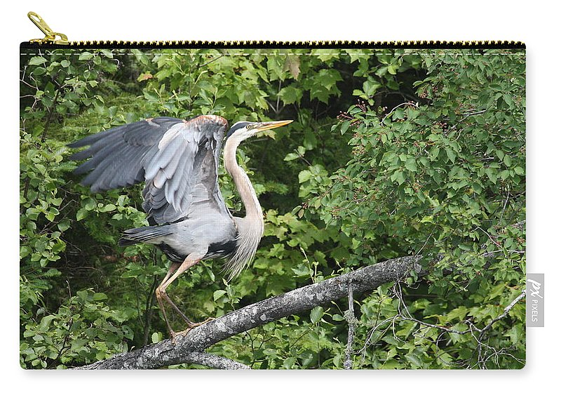 Great Blue Heron Carry-all Pouch featuring the photograph Great Blue Ballet by Teresa McGill