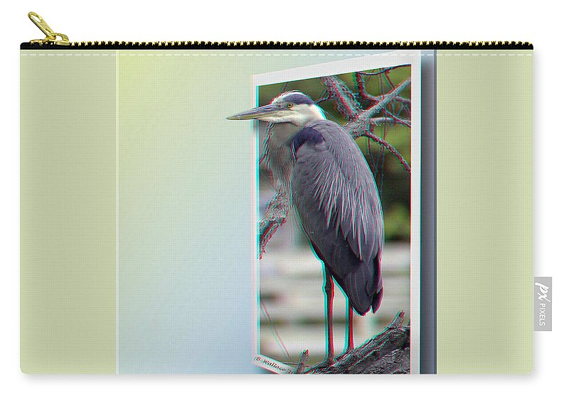 3d Carry-all Pouch featuring the photograph Great Blue Heron - Red-cyan 3d Glasses Required by Brian Wallace