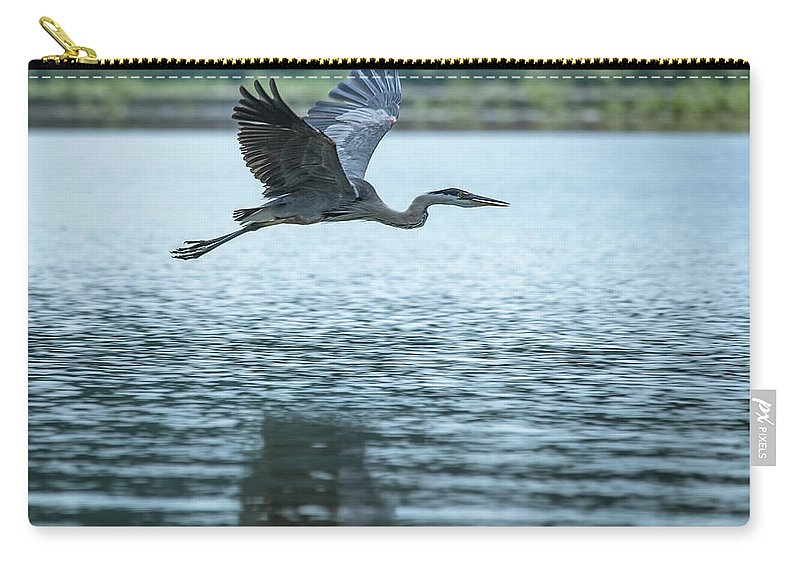 Great Blue Heron Flying Carry-all Pouch featuring the photograph Great Blue Heron Flying by Jemmy Archer