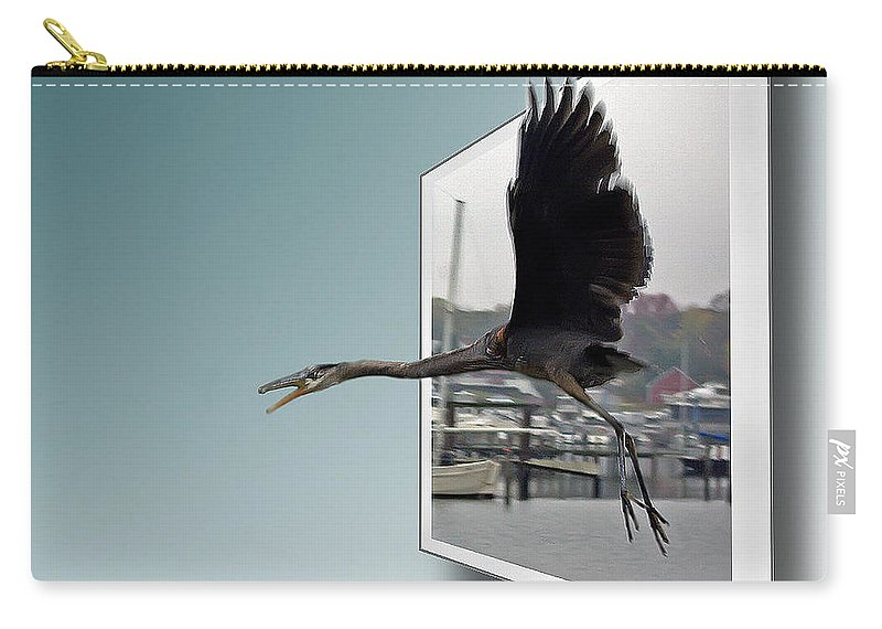 2d Carry-all Pouch featuring the photograph Great Blue Heron In Flight by Brian Wallace
