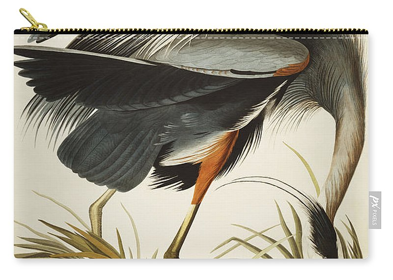 Great Blue Heron Carry-all Pouch featuring the drawing Great Blue Heron by John James Audubon