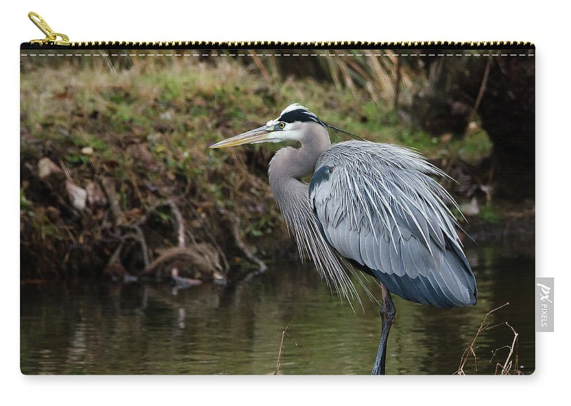 Hero Carry-all Pouch featuring the photograph Great Blue Heron On The Watch by George Randy Bass