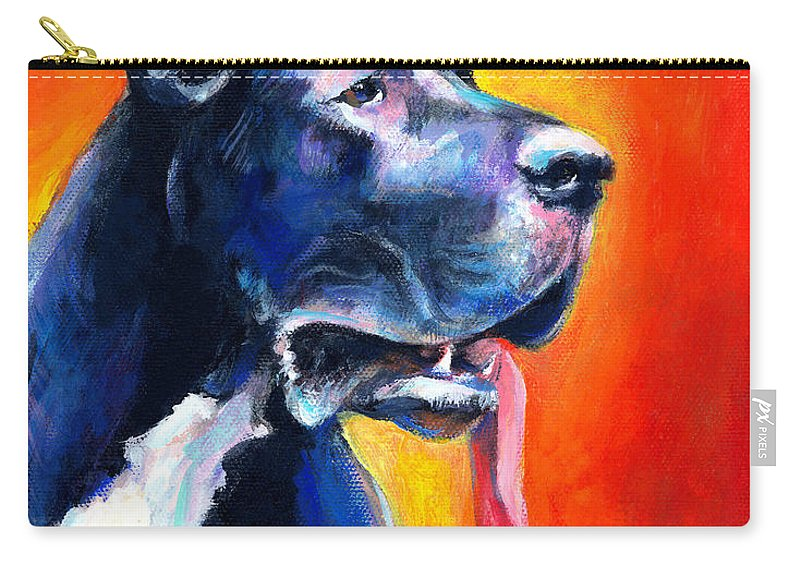 Black Great Dane Carry-all Pouch featuring the painting Great Dane Dog Portrait by Svetlana Novikova