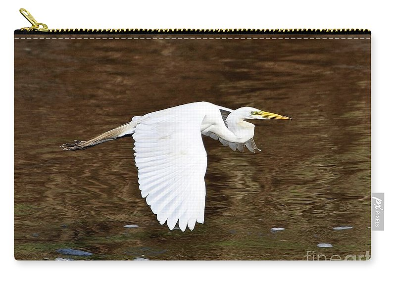 Great Egret Carry-all Pouch featuring the photograph Great Egret In Flight by Al Powell Photography USA