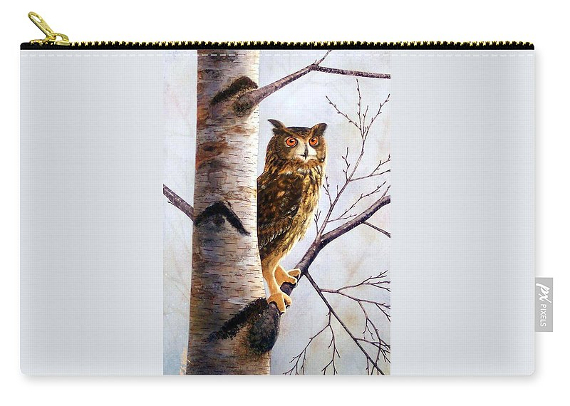 Great Horned Owl In Birch Carry-all Pouch featuring the painting Great Horned Owl In Birch by Frank Wilson