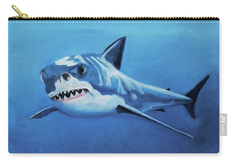 Shark Carry-all Pouch featuring the painting Great White 2 by Terry Lewey