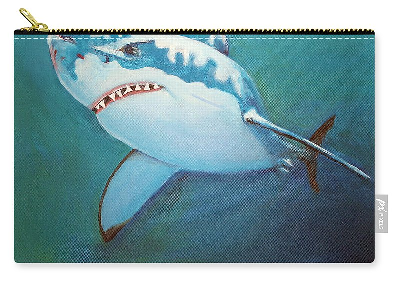 Great White Carry-all Pouch featuring the painting Great White 3 by Terry Lewey