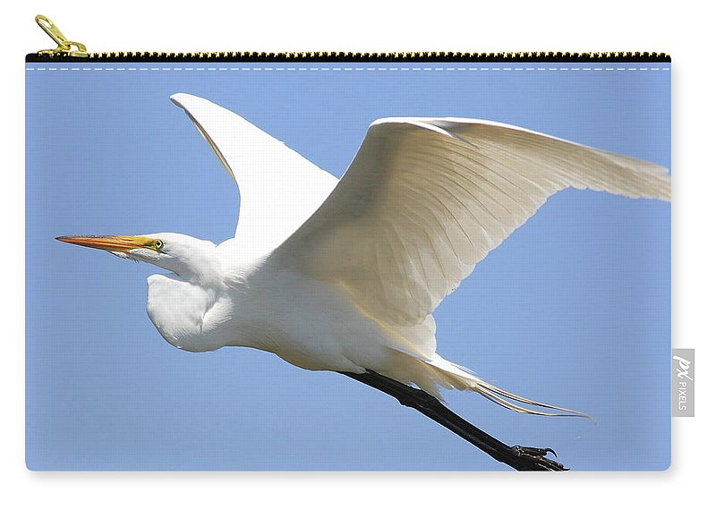 Bird Carry-all Pouch featuring the photograph Great White Egret In Flight . 40d6845 by Wingsdomain Art and Photography