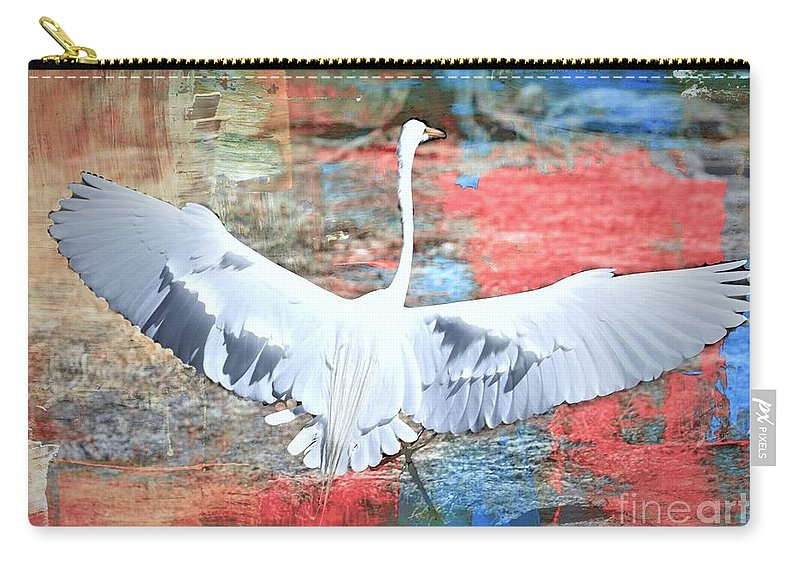 Great Egret Carry-all Pouch featuring the photograph Great White Egret Landing by Diann Fisher