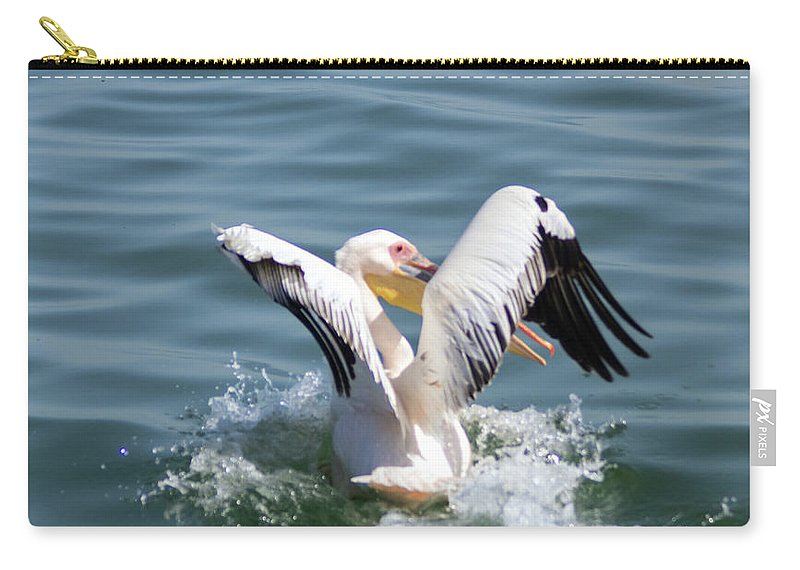 Pelican Carry-all Pouch featuring the photograph Great White Pelican In Flight by Hazel Wright