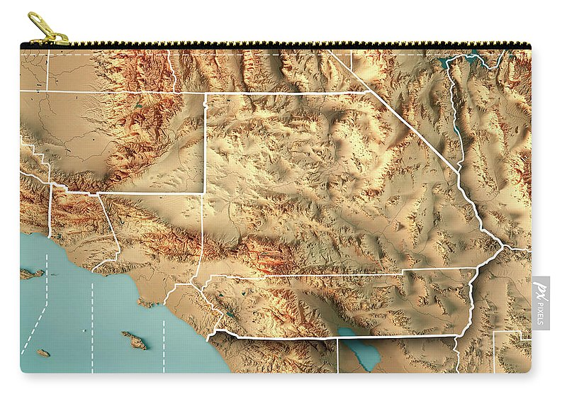 Greater Los Angeles Area Usa 3d Render Topographic Map Border Carry