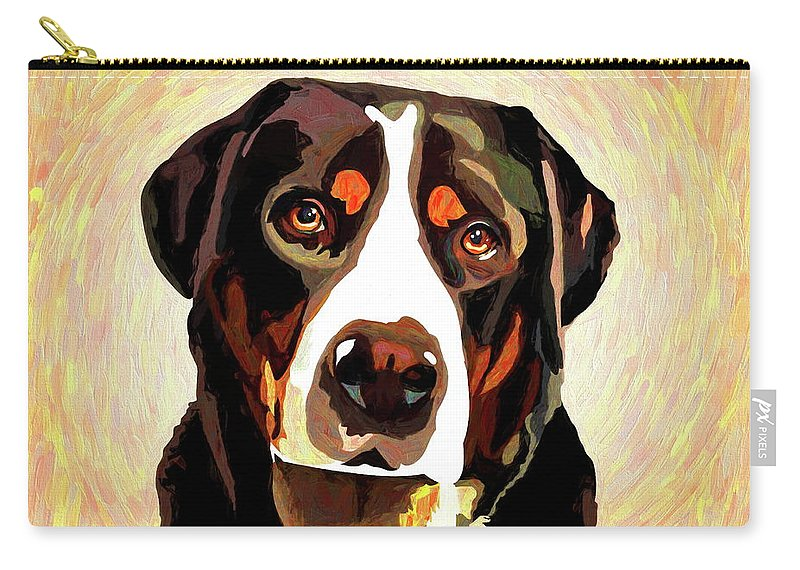 Greater Swiss Mountain Dog Carry-all Pouch featuring the mixed media Greater Swiss Mountain Dog by Alexey Bazhan