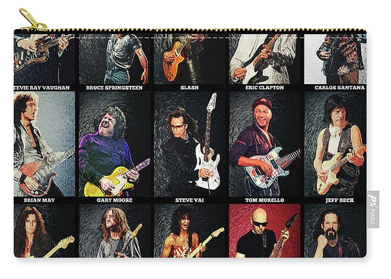 Guitar Carry-all Pouch featuring the digital art Greatest Guitarists Of All Time by Zapista OU