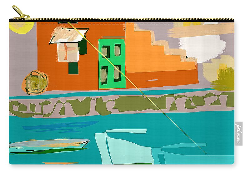 Greece Carry-all Pouch featuring the digital art Grecian Sun by Anthony Robinson