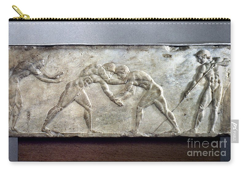 Ancient Carry-all Pouch featuring the photograph Greece: Wrestlers by Granger