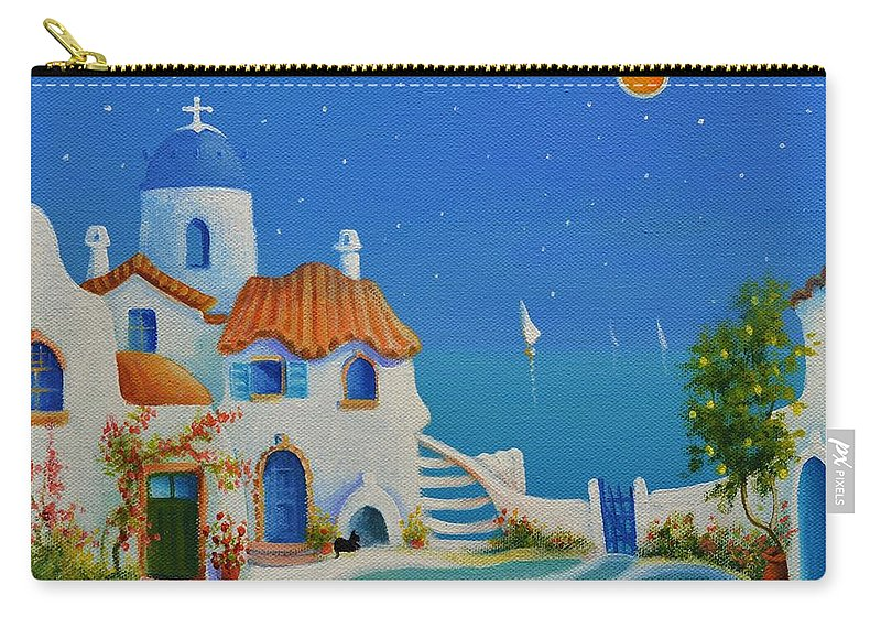 Greek Blue Carry-all Pouch featuring the painting Greek Blue Santorini A Greek Fairytale by Ray Gilronan