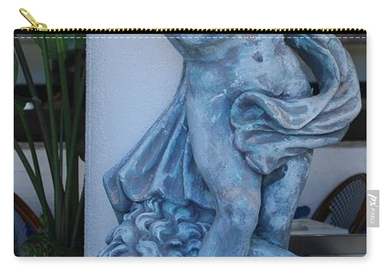 Statue Carry-all Pouch featuring the photograph Greek Dude And Lion In Blue by Rob Hans