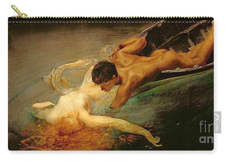 Green Abyss Carry-all Pouch featuring the painting Green Abyss by Giulio Aristide Sartorio
