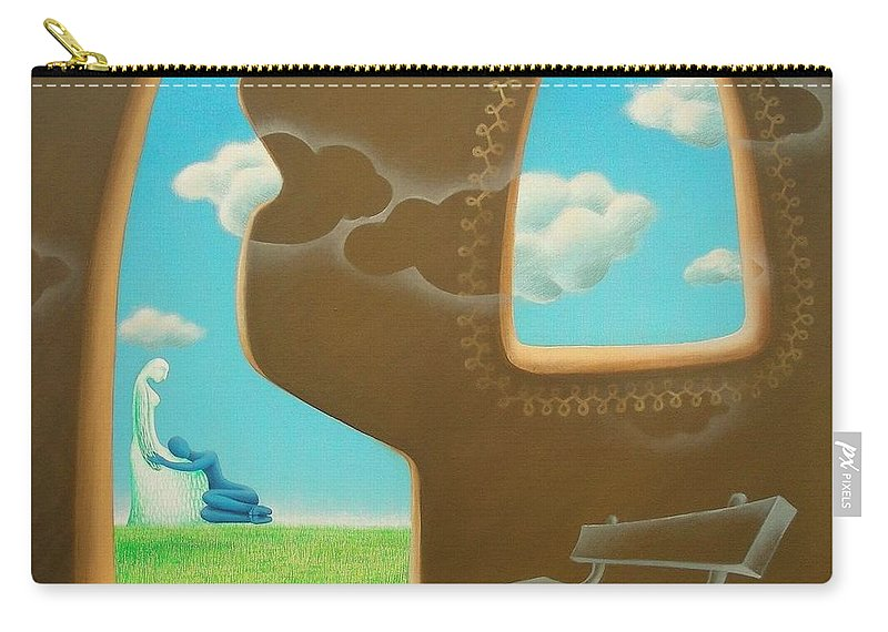Romantic Carry-all Pouch featuring the painting Green And Blue by Raju Bose