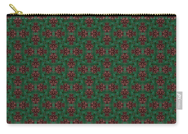 Carry-all Pouch featuring the digital art Green And Brown Chunky Cross Mirror Pattern by Kari Myres