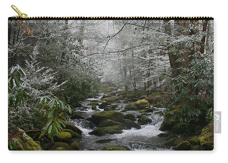 Green Snow Tree Trees Winter Stream River Creek Water Stone Rock Flow Boulder Forest Woods Cold Carry-all Pouch featuring the photograph Green And White by Andrei Shliakhau