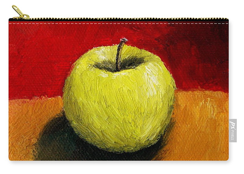 Apple Carry-all Pouch featuring the painting Green Apple With Red And Gold by Michelle Calkins