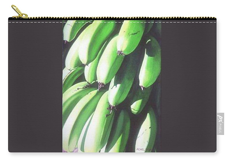 Hyperrealism Carry-all Pouch featuring the painting Green Bananas I by Michael Earney