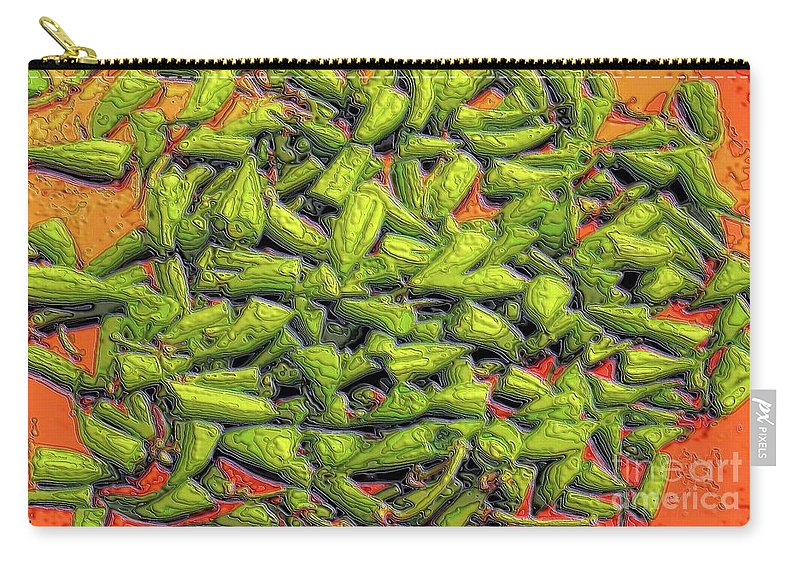 Green Beans Carry-all Pouch featuring the digital art Green Bean Tips by Ron Bissett