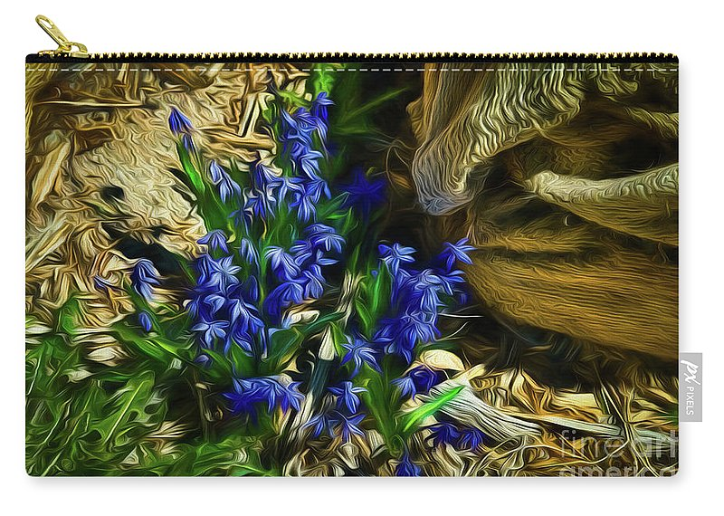 Flowers Carry-all Pouch featuring the photograph Green Blue And Burlap by Jon Burch Photography