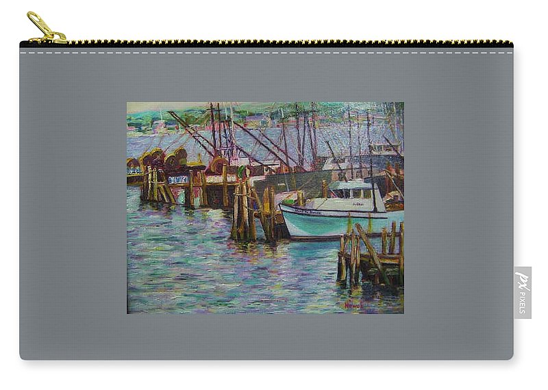 Boat Carry-all Pouch featuring the painting Green Boat At Rest- Nova Scotia by Richard Nowak