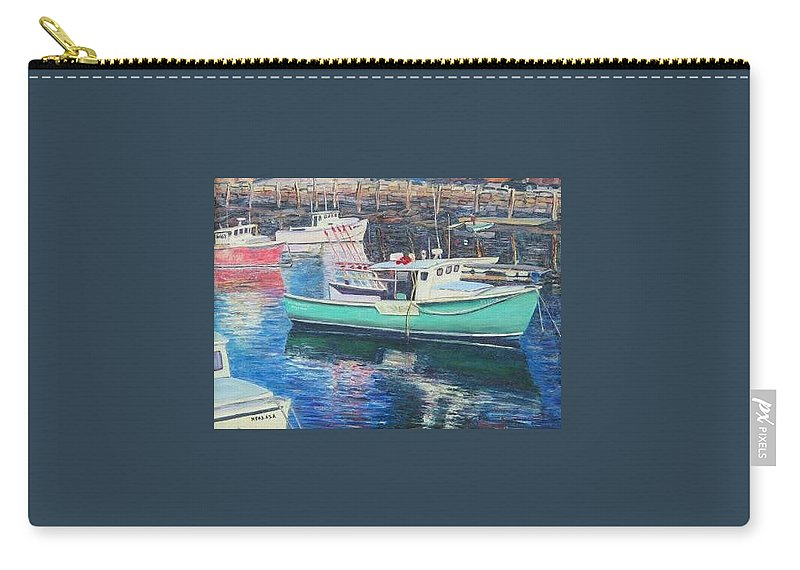 Water Carry-all Pouch featuring the painting Green Boat Reflections by Richard Nowak