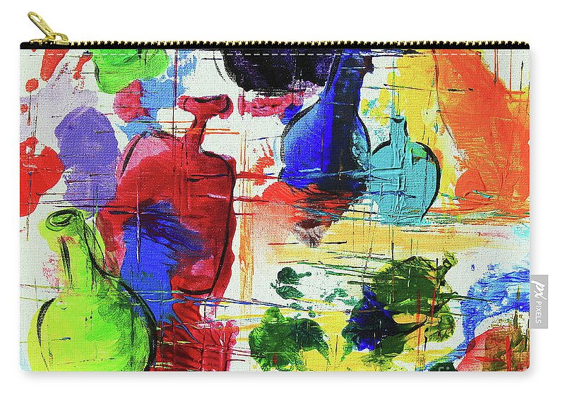 Art Carry-all Pouch featuring the painting Green Bottle, Blue Bottle by Jeanette French