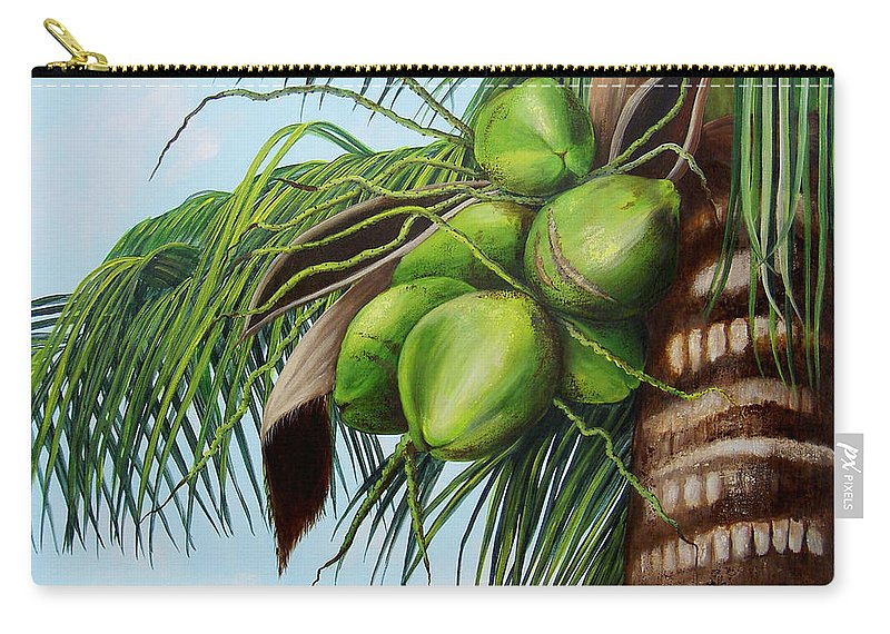 Coconuts Carry-all Pouch featuring the painting Green Coconuts- 01 by Dominica Alcantara