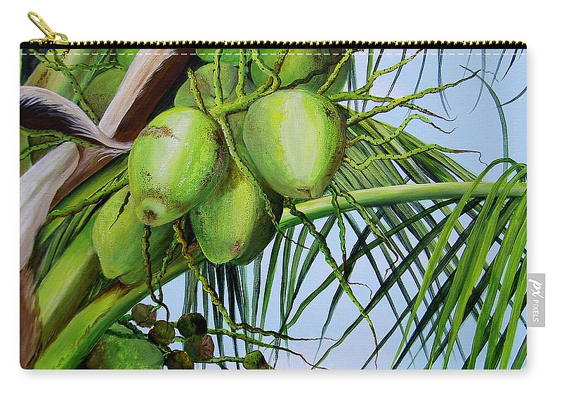 Greencoconuts Carry-all Pouch featuring the painting Green Coconuts-02 by Dominica Alcantara