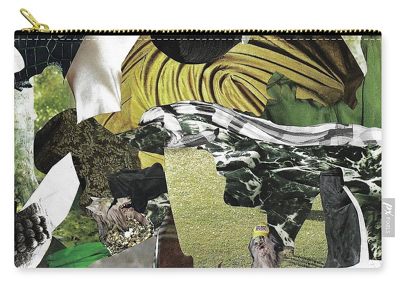 Collage Carry-all Pouch featuring the mixed media Green Collage 1 by Shelby Wilson