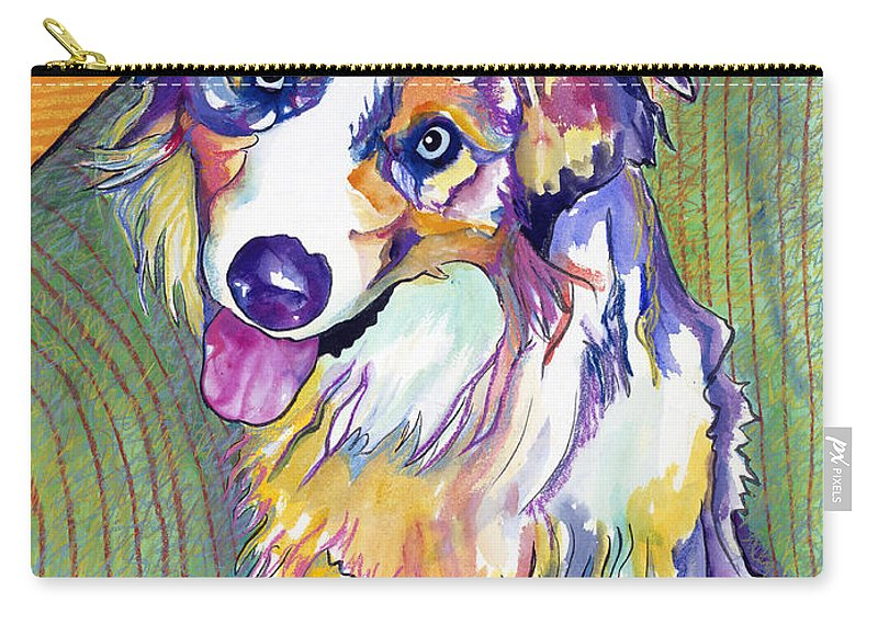 Pat Saunders-white Carry-all Pouch featuring the painting Green Couch  by Pat Saunders-White