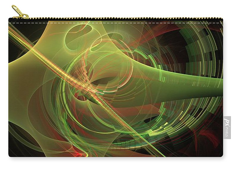 Carry-all Pouch featuring the digital art Green Energy Tunnel by Deborah Benoit