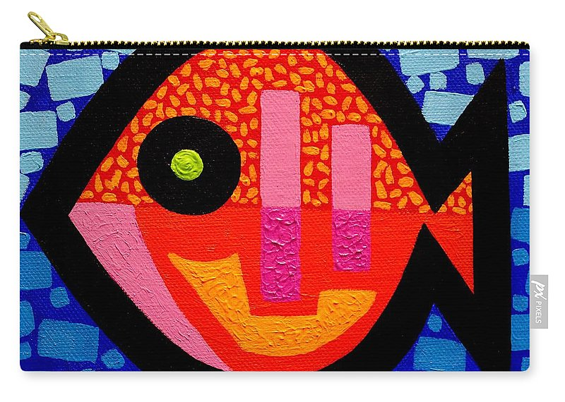 Fish Carry-all Pouch featuring the painting Green Eyed Fish by John Nolan
