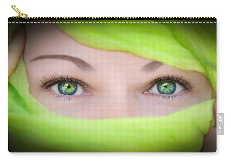 Eyes Carry-all Pouch featuring the photograph Green-eyed Girl by TK Goforth