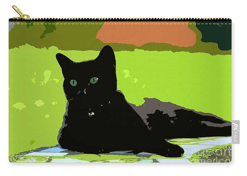 Cat Carry-all Pouch featuring the painting Green Eyes by David Lee Thompson