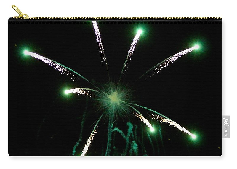 Fireworks Carry-all Pouch featuring the photograph Green Glow by Rick Monyahan