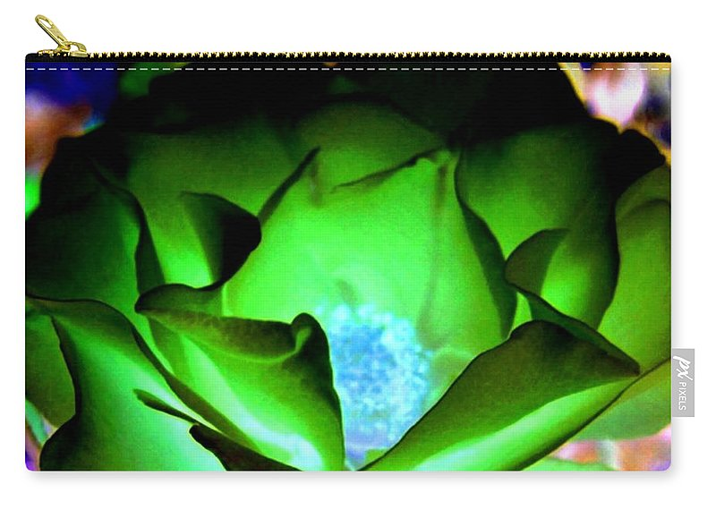 Rose Carry-all Pouch featuring the digital art Green Glow by Will Borden