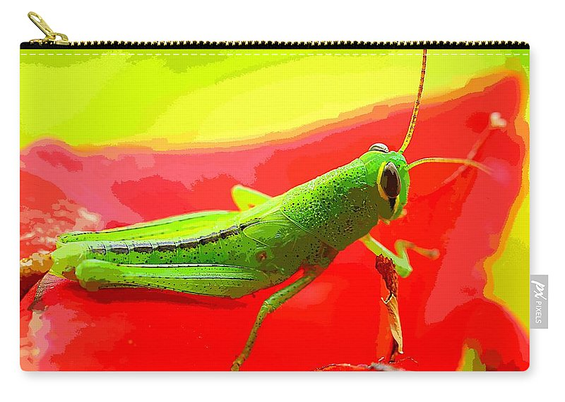 Art Carry-all Pouch featuring the painting Green Grasshopper by MJ Arts Collection
