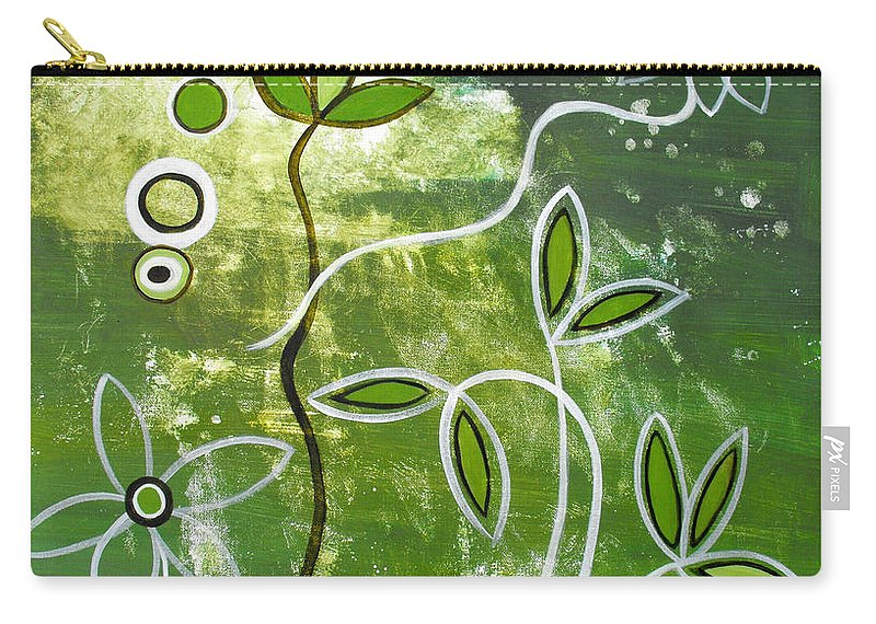 Abstract Carry-all Pouch featuring the painting Green Growth by Ruth Palmer