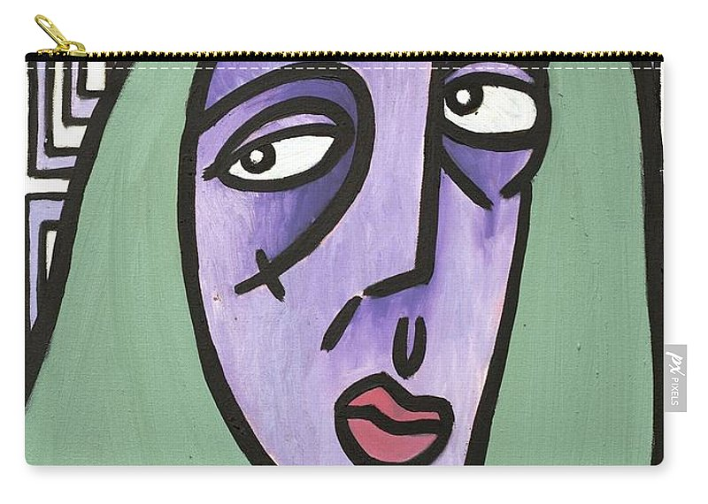 Clay Carry-all Pouch featuring the painting Green Hair by Thomas Valentine