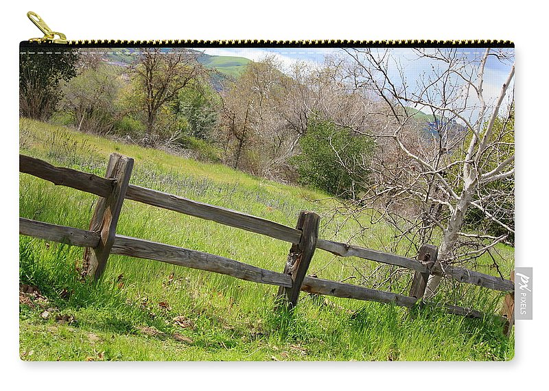 Landscape Carry-all Pouch featuring the photograph Green Hills And Rustic Fence by Carol Groenen