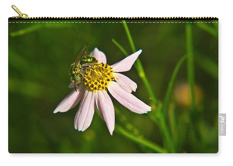Green Carry-all Pouch featuring the photograph Green Iridescent Bee by Douglas Barnett