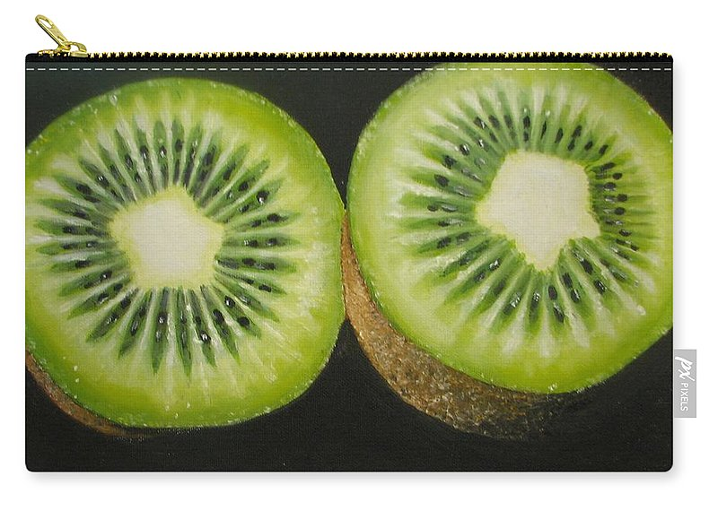Abstract Carry-all Pouch featuring the painting Green kiwi oil painting by Natalja Picugina
