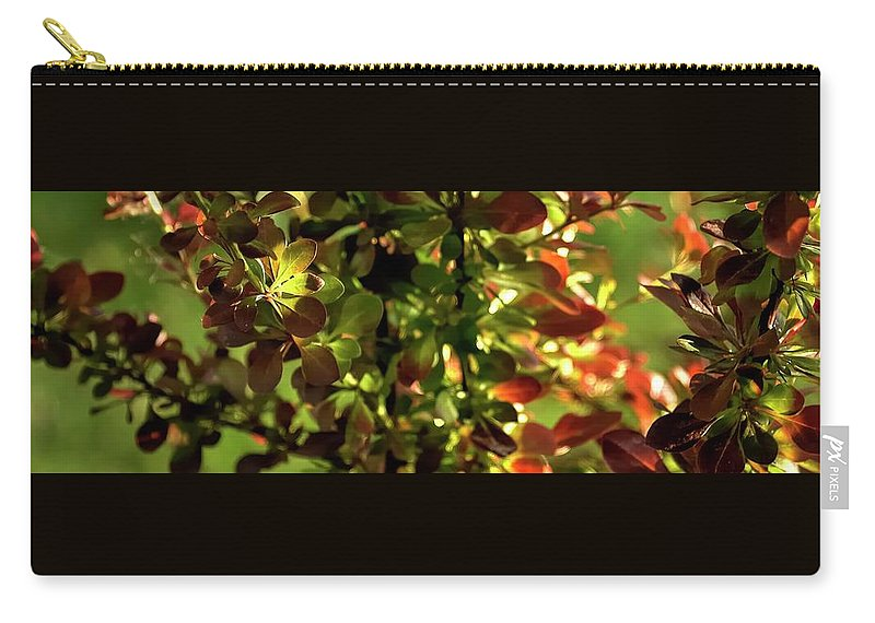 Willamette Carry-all Pouch featuring the photograph Green Leaf Red Leaf Pano by Jerry Sodorff