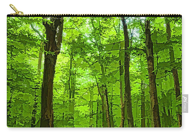 Georgia Mizuleva Carry-all Pouch featuring the digital art Green Light Harmony - Walking Through The Summer Forest by Georgia Mizuleva